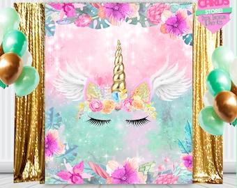 Unicorn printable digital backdrop, unicorn party, unicorn flowers decoration, unicorn birthday, unicorn banner,baby shower,INSTANT DOWNLOAD