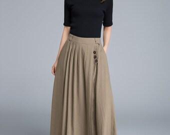 Khaki skirt, linen skirt, pleated skirt, pocket skirt, button skirt, elastic skirt, plus skirt, swing skirt, handmade skirt, swing skirt1671