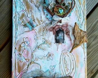 Enchanted Wedding Album, Wedding Guest book, Mixed Media Journal, Enchanted Photo Album, Enchanted Forest Book