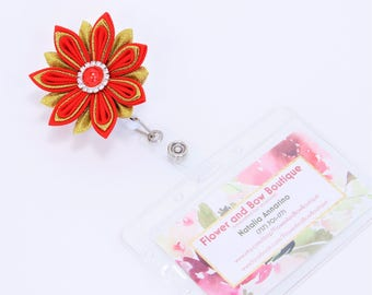 Flower Badge Reel Flower ID Holder Nurse Badge Reel Retractable ID Badge Holder Name Badge Reel  Professional ID Wear Teacher Id Holder