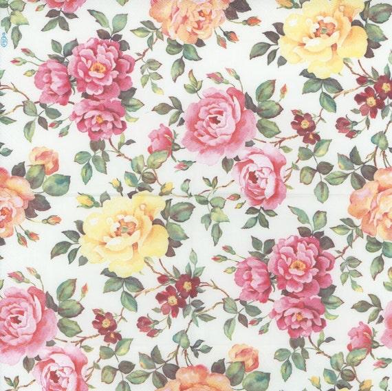 Decoupage paper napkins pink and yellow roses in the garden decoupage paper napkins pink and yellow roses in the garden floral napkins rose napkins party napkins paper napkins for decoupage from chiarotino mightylinksfo