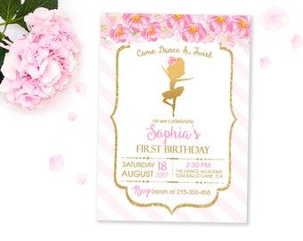Ballerina Invitation, Ballerina Birthday Invitation Pink and Gold, Ballet Birthday Invitation, Ballet party, Ballerina Party Personalized