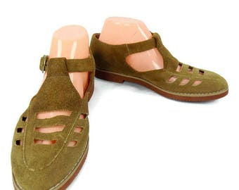 Vintage 90's Ladies Stefano International Brown Suede Closed Toe Sandals Size 7 1/2