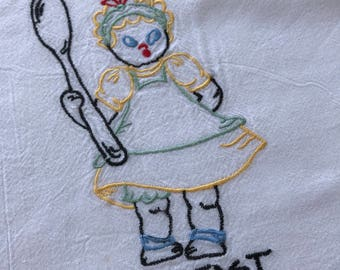 Vintage Flour Sack Towel Girl With Spoon Breakfast Home Living Kitchen Linen Dining by picadillymarket