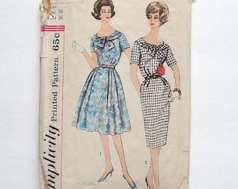 Vintage 1960 Simplicity Slenderette Dress Sewing Pattern #3446 - Size 16 (bust 36)