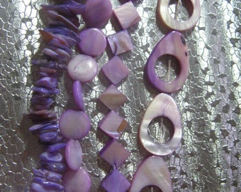 Purple Lavender Mother of Pearl Shell Beads assorted shapes P4-1