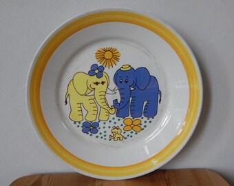 Vintage Stavangerflint Inger Waage Kids Plate Lillefant Norway 1960 s