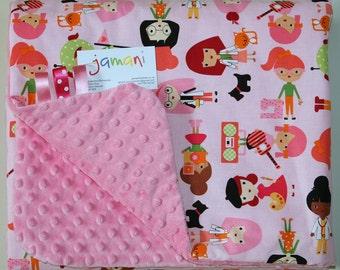 Lovely Handmade Baby Minky Blanket- girls
