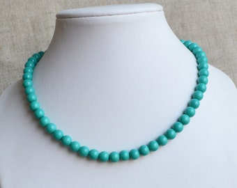 turquoise color necklace, 8mm glass pearl necklaces,wedding necklace, bridesmaids necklace,statement necklace, women necklace,cheap necklace