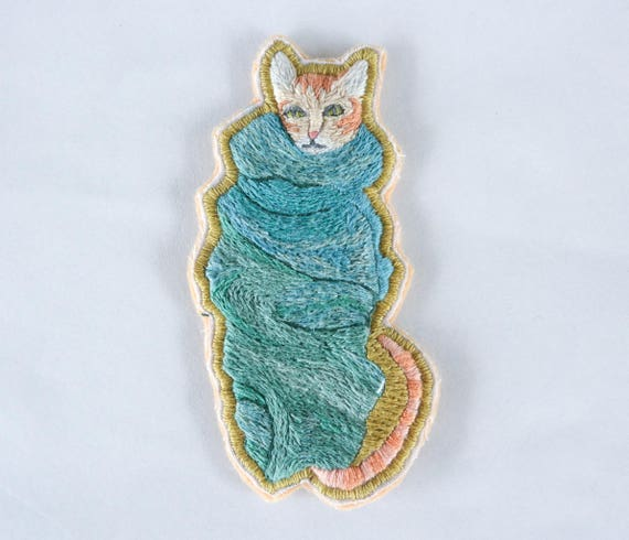 Hand Embroidered Purrito Patch