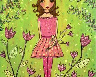 Flower Girl Painting Folk Art Print on Wood