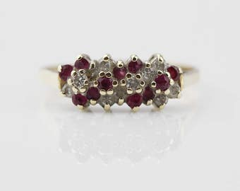 9ct Gold Ruby and Diamond Cluster Ladies Ring   Size UK P  and US 7.75