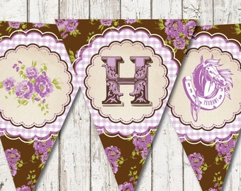 8ft Vintage Cowgirl HAPPY BIRTHDAY Party Printable Bunting Banner  --  Downloadable digital file