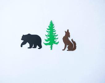 Camping Confetti,Coyote Confetti,Bear Confetti,Camping Party,Camping Birthday,Woodland Confetti,Animal Confetti,Coyote,Bear,Pine Tree