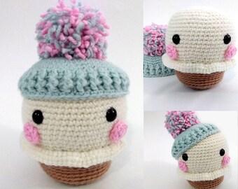Yum-Yum crochet pattern, ice cream crochet pattern, amigurumi food, cupcake crochet pattern, food crochet pattern, cute crochet food, chibi