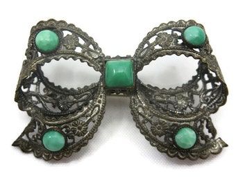 Vintage Czech Bow Brooch - Green Peking Glass and Filigree Metal