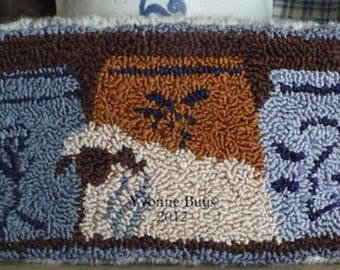 """Pattern:  Punch Needle Embroidery Pattern """"Lamb and Crocks"""" by Vintage Heart Rug Design (Yvonne Buus)"""