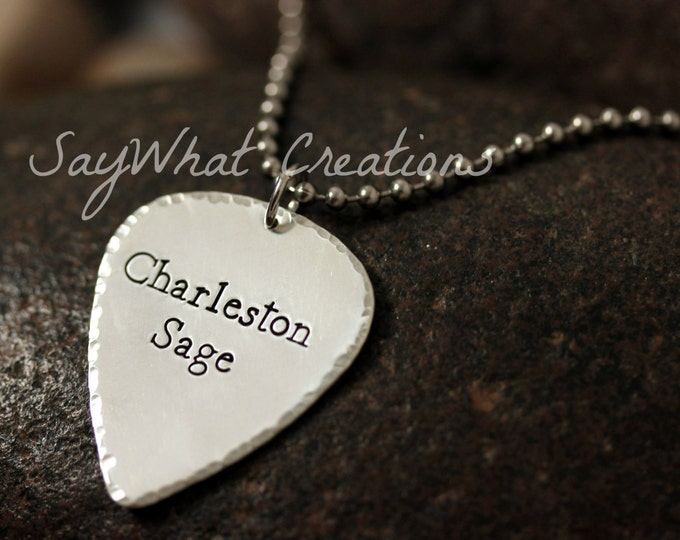 Guitar Pick Necklace Custom hand stamped sterling silver with ball chain Great gift for Dads and Guys