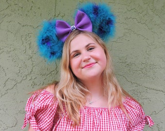 Sully Inspired Mickey Ears/ Monster Inc Mickey Ears/ Marabou Feather Mickey Ears/ Boho Mickey Ears/ Mickey Mouse