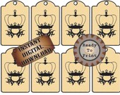 Crown Tags Printable Hang Tags Price Tags Labels Aged Steampunk Victorian French Old Fashioned Gift Package Tags Cream and Black Gift Wrap
