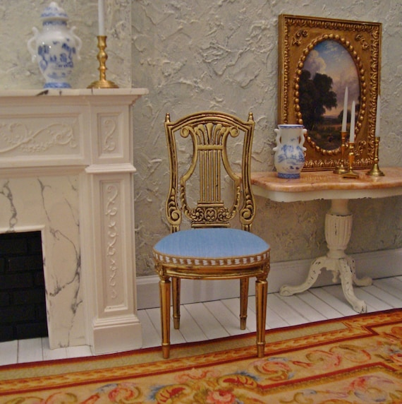 Dollhouse Miniatures St Louis: Louis XVI French Empire Lyre Back Chair 1/12 Scale Dollhouse