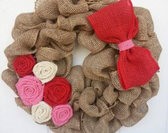 Valentine Wreath / burlap wreath / valentine burlap wreath / red and pink wreath / Front Door Wreath / Wreath for Door / Holiday Wreath