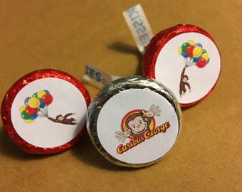 hershey kiss stickers, Curious George party, birthday stickers, curious george birthday