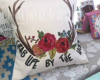 Grab Life By The Horns Pillow