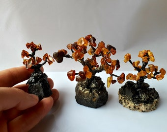 2 LOT of 3pcs A Tree of life Genuine Baltic Amber