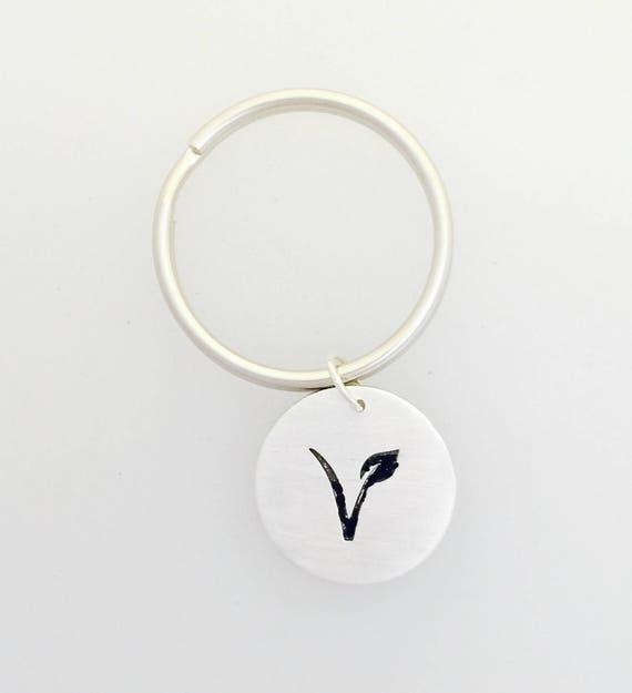 V is for Vegan keychain-Vegan gift-Vegan Keychain-Men's gift-Vegan Jewelry-Vegan Accessory-Keychain-birthday-Anniversary-Vegaaniversary-gift