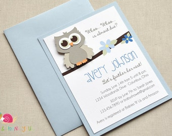 Owl Baby Shower Invitations · A2 LAYERED · Light Blue and Gray · Baby Sprinkle | Birth Announcement | Birthday Party | Baby Boy