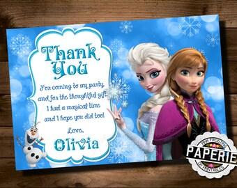 FROZEN Printable THANK YOU card, Custom Frozen Invitation For Girls Birthday Party, Frozen Party Decor, Winter Birthday, Custom Party Shoppe