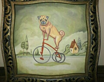 pug bicycle dog print of original painting artwork by thepugpainter