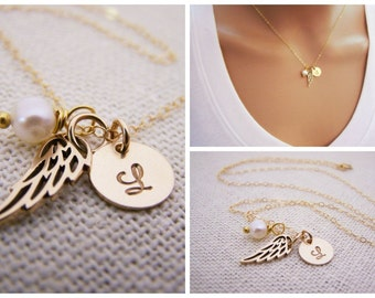 Personalized Angel Wing Necklace - Memorial Necklace - Miscarriage Necklace - Loss Necklace - 14k Gold Filled - Memorial Jewelry