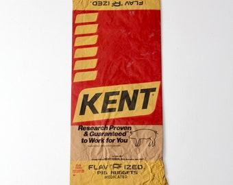 vintage paper farm bag, Kent feed bag, rustic country decor