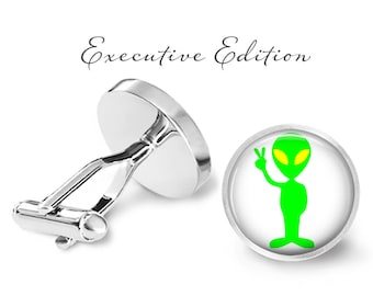 Cufflinks - Peaceful Alien Cufflinks - Alien Cuff Links - Extra Terrestrial Cufflinks (Pair) Lifetime Guarantee (S0435)