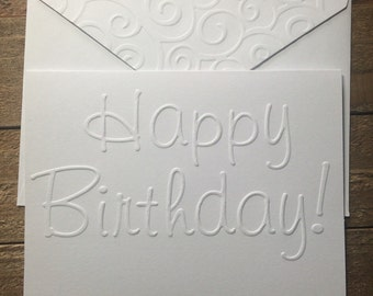 Happy Birthday Cards, White Embossed Cards, Stationary Set, Greeting Cards, Blank Note Card Set and Envelopes, Embossed Birthday