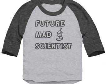 Future Mad Scientist STEM Toddler 3/4 Sleeve Baseball Raglan T-Shirt