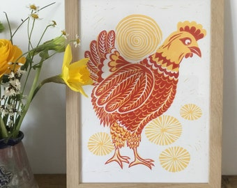 Spring Chicken - Limited edition hand pressed lino-cut print A4. Hen linocut.
