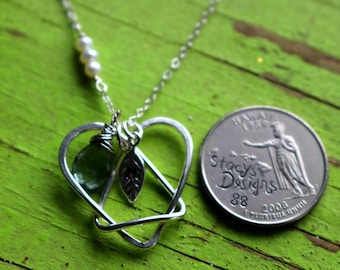 Celtic Adoption Triad with One Birthstone and One Initial Leaf Necklace, the Adoption Necklace in Sterling Silver - Gift Birthday Daughter