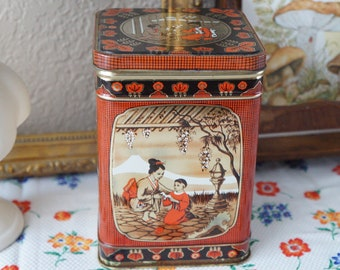 Vintage Red and Black Mount Fuji Mother Maternal love Japanese View Metal Tin