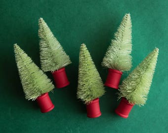 Fresh Green Bottle Brush Trees - 5 Miniature Sisal Trees with Red Wooden Spool Bases