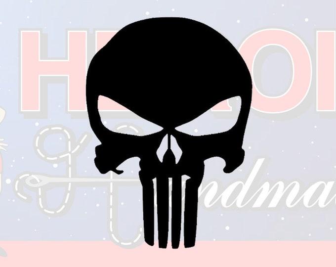 "4""+ Punisher Skull Adhesive Vinyl Decal"