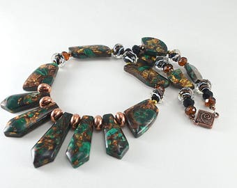 Composite malachite stone and copper  magnetic clasp  necklace