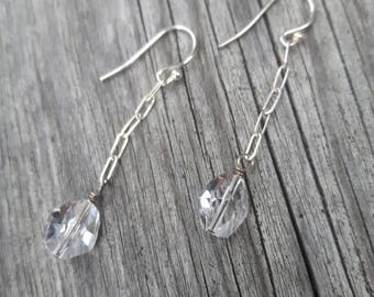 Swarovski Crystals on Long Chain Earrings, Sterling Silver & Crystal Earrings, Wedding and  Bridesmade Jewelry, Grad and Fancy Dress Jewelry