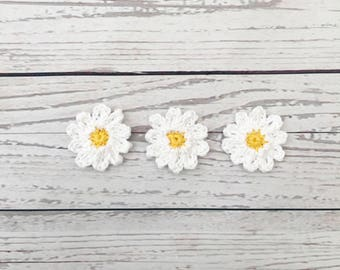 crochet white daisy flower, crochet flower motif, white yellow flower, wedding decoration, crochet daisies