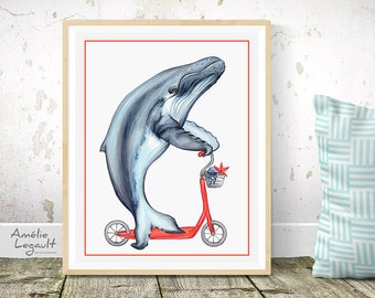 Affiche baleine à bosse à trottinette, affiche pour enfant, 5 x 7 , 8 x 10 et 11 x 14
