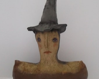 SALE,Primitive Folk Art Doll,Halloween,Primitive Doll,Gothic,Art Doll,Witch,Goth,Primitive Art Doll,Ornie,Folk Art,HAFAIR,FAAPArtful Zeal