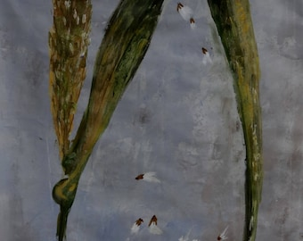 gouache tempera painting: seeds