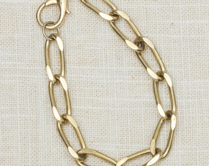 Vintage Gold Oval Link Chain Bracelet Costume Jewelry 7OO